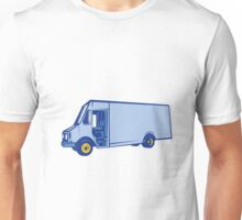 Delivery Van Side Woodcut Unisex T-Shirt