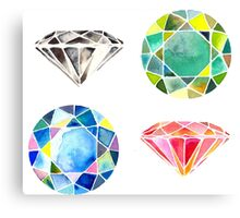 Watercolor Diamonds – April Birthstone Canvas Print