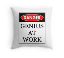 Danger - Genius at work Throw Pillow