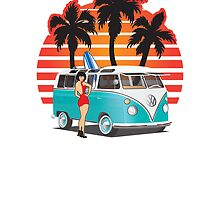 21 Window VW Bus Teal with Girl by Frank Schuster