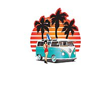 21 Window VW Bus Teal with Girl Photographic Print