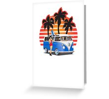 21 Window VW Bus Blue with Girl Greeting Card