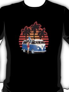 21 Window VW Bus Blue with Girl T-Shirt