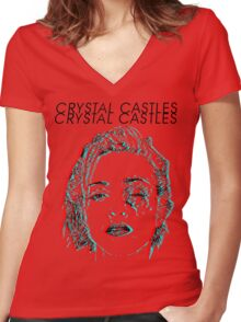 Crystal Castles Alice Face Women's Fitted V-Neck T-Shirt