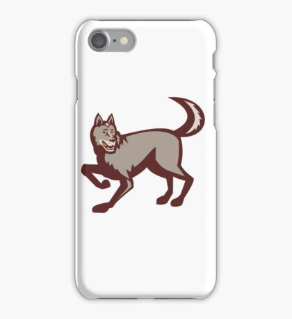 Gray Wolf Side View Retro iPhone Case/Skin