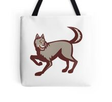 Gray Wolf Side View Retro Tote Bag