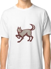 Gray Wolf Side View Retro Classic T-Shirt