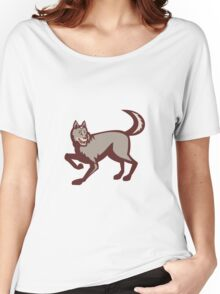 Gray Wolf Side View Retro Women's Relaxed Fit T-Shirt