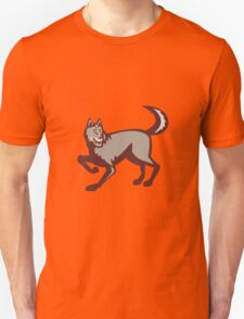 Gray Wolf Side View Retro T-Shirt