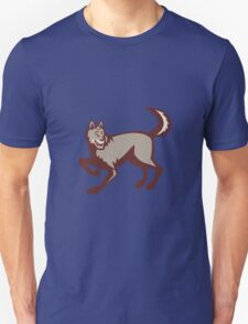 Gray Wolf Side View Retro T-Shirt