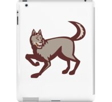 Gray Wolf Side View Retro iPad Case/Skin