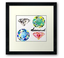 Watercolor Diamonds with Calligraphy – April Birthstone Framed Print