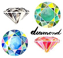 Watercolor Diamonds with Calligraphy – April Birthstone Photographic Print