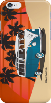21 Window VW Bus Tuerkis in Desert by Frank Schuster