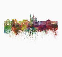 Angers skyline in watercolor background Kids Tee