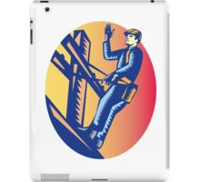 Power Lineman Electric Post Waving Oval Woodcut iPad Case/Skin