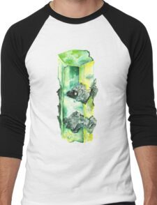 Watercolor Emerald – May Birthstone Men's Baseball ¾ T-Shirt