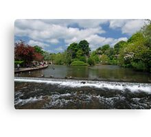 The Riverside and Weir, Bakewell  Canvas Print