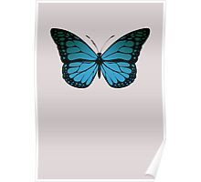 Blue Monarch Butterfly Poster