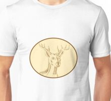 Red Stag Deer Head Circle Etching Unisex T-Shirt
