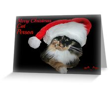 Merry Christmas Cat Person Greeting Card