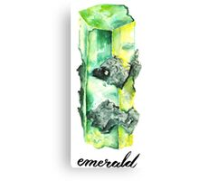 Watercolor Emerald With Calligraphy – May Birthstone Canvas Print