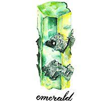 Watercolor Emerald With Calligraphy – May Birthstone Photographic Print