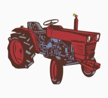 Vintage Farm Tractor Side Woodcut by patrimonio