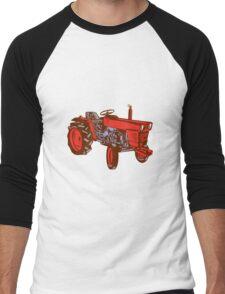 Vintage Farm Tractor Side Woodcut Men's Baseball ¾ T-Shirt