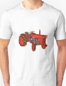 Vintage Farm Tractor Side Woodcut T-Shirt