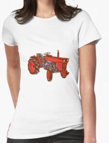 Vintage Farm Tractor Side Woodcut T-Shirt