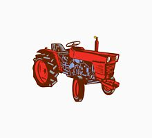 Vintage Farm Tractor Side Woodcut Unisex T-Shirt