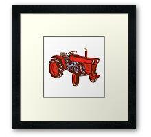 Vintage Farm Tractor Side Woodcut Framed Print