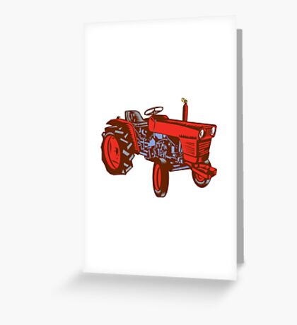 Vintage Farm Tractor Side Woodcut Greeting Card