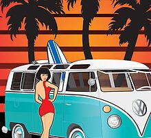 21 Window VW Bus With Palmes and Girl XL by Frank Schuster