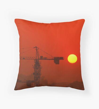 construction site setting sun Throw Pillow
