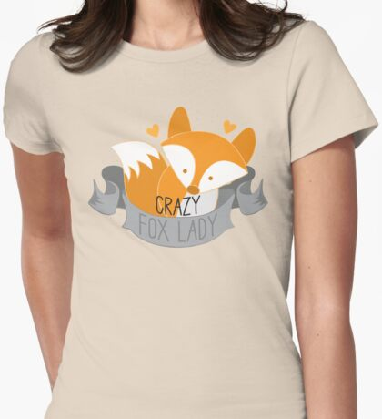Crazy Fox Lady Banner Womens Fitted T-Shirt