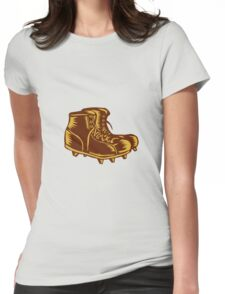 Vintage Football Boots Woodcut Womens Fitted T-Shirt