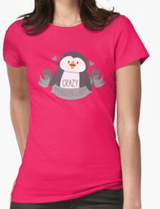 Crazy penguin Lady Banner Womens Fitted T-Shirt