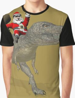 Santa Claus Riding A Trex Graphic T-Shirt