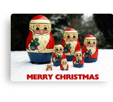 Christmas Card Santas in the Snow Canvas Print