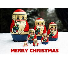 Christmas Card Santas in the Snow Photographic Print