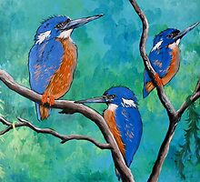 Above The Water Line ( Azure Kingfishers ) by Sally Ford