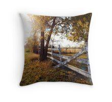 Fallen Fence in Autumn Beauty Throw Pillow