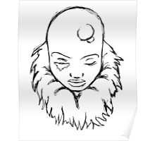 Bald Female Outline Drawing Poster