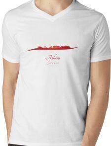 Athens skyline in red Mens V-Neck T-Shirt