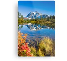 Mount Shuksan reflected in Picture Lake in Fall Metal Print