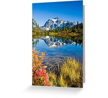 Mount Shuksan reflected in Picture Lake in Fall Greeting Card