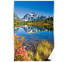 Mount Shuksan reflected in Picture Lake in Fall Poster