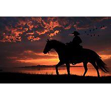 Cowboy Sunset Photographic Print